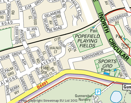 Area after new housing development. Note that Popefield Playing Fields has somewhat decreased in size and has subsequently degenerated into rough scrubland unsuitable for sports. It is also frequently used as a dumping ground for unwanted household refuse.