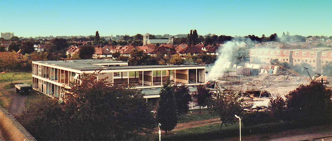 Ealing Mead County School Demolition c1976 - photo Alan Crump